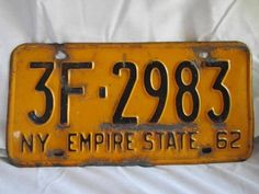 VINTAGE NY 1962 NEW YORK EMPIRE STATE AUTO LICENSE PLATE 1960'S MAN CAVE