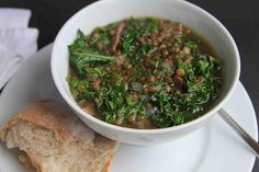 Kale, Lentil, and Bacon SoupMeat  4	Rashers streaky bacon Produce  100 g	Kale 100 g	Le puy green lentils 1	Onion 1 sprig	Thyme Canned Goods  1 liter	Stock Oils & Vinegars  1 tbsp	Olive oil Beer, Wine & Liquor  1 splash	Sherry, dry