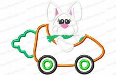 Bunny Driving Carrot Car Applique Embroidery Design