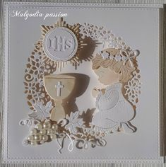 Malgodia Passion First Communion Cards, First Holy Communion, Pop Up Cards, Cute Cards, Handmade Greeting Card Designs, Communion Centerpieces, Baby Shower Baskets, Memory Box Cards, Christian Cards