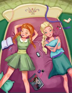 "Anna and Elsa by E11a.deviantart.com on @DeviantArt - From ""Frozen""; modern-day AU"