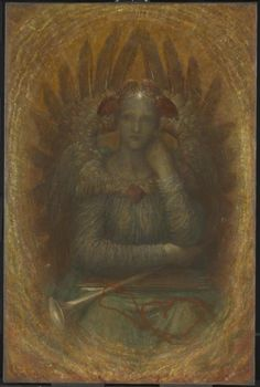 George Frederic Watts, The Dweller in the Innermost. The figure's meaning: 'Conscience, winged, dusk-faced, and pensive, seated facing, within a glow of light; on her forehead she bears a shining star, and on her lap lie the arrows that pierce through all disguise, and the trumpet which proclaims truth to the world'