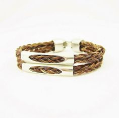 Brown Double Braid Horse Hair Bracelet with Silver by RescueTails, $40.00