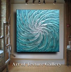 Abstract Painting 42 x 42 Huge Original Texture Modern Blue Silver White Floral Metallic Carved Sculpture Knife Oil Painting by Je Hlobik