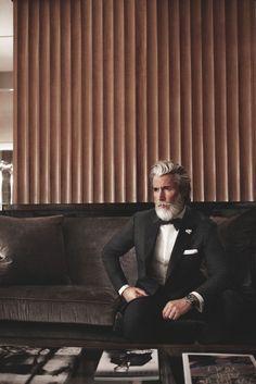The proper way to wear a beard and a tuxedo.