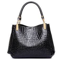 Womens Crocodile Japanned Leather Satchel Shoulder Tote Bags-Tote-Loluxe