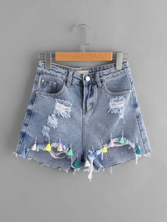 Shop Ripped Frayed Hem Denim Shorts With Colorful Tassel online. SheIn offers Ripped Frayed Hem Denim Shorts With Colorful Tassel & more to fit your fashionable needs. Teen Fashion Outfits, Cute Fashion, Trendy Outfits, Summer Outfits, Cute Outfits, Girl Outfits, Diy Shorts, Cute Shorts, Short Shorts