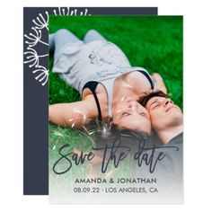 Black-Flame and White Dandelion Wedding Save Date Card - wedding invitations diy cyo special idea personalize card