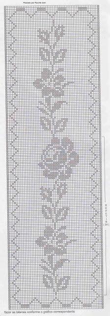 Facilite Sua Arte: Colcha 14 - Crochê filé com motivos em rosas