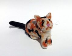 OOAK, One of A Kind Miniature Calico Cat Needle Felted Wool Animal Kitten Kitty Sculpture - Black, White, Tan, Cream and Orange Felt Fiber