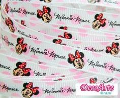 Fita gorgurão Minnie rosa - 10mm x 5metros