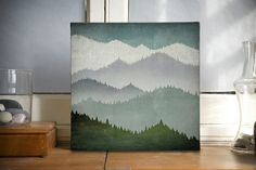 First Snow Smoky Mountains Green Mountains Gallery Wrapped Canvas Panel wall art 12x12x1.5 inches SIGNED