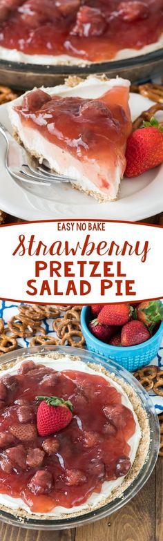 No Bake Strawberry Pretzel Salad Pie - this easy recipe has a pretzel crust creamy cheesecake filling and strawberry pie filling on top! It's great for a summer party!