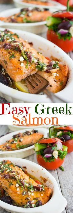 Baked Salmon With Greek Dressing recipe is fast, easy, super flavorful and a rea. - Baked Salmon With Greek Dressing recipe is fast, easy, super flavorful and a real crowd pleaser! Gourmet with no fuss! With an easy stuffed tomato salad. Greek Dishes, Fish Dishes, Seafood Dishes, Paleo Dinner, Healthy Dinner Recipes, Cooking Recipes, Kitchen Recipes, Easy Cooking, Healthy Snacks