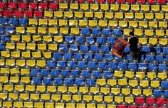 Barcelona flags are left on seats in the stadium during a Juventus training session on the eve of the UEFA Champions League Final match against FC Barcelona at Olympiastadion on June 5, 2015 in Berlin, Germany.