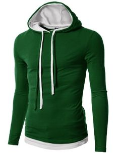 Doublju Mens Hood Pull-over with Contrast String $19.99 (save $14.00)