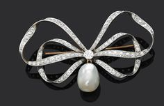An antique pearl and diamond bow brooch - costume jewellery uk, silver gemstone jewelry, jewelry and watches *ad Bow Jewelry, Pearl Jewelry, Silver Jewelry, Fine Jewelry, Fashion Jewelry, Jewellery Box, Jewellery Shops, Antique Brooches, Antique Earrings