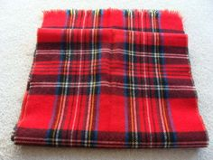 "NWOT Red Plaid 100% Wool Fringed Scarf - 46"" Long & 12.5"" Wide #Scarf"