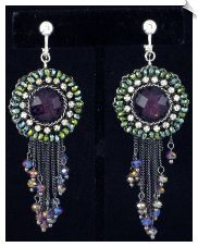 Vintage Style Antique Dark Silvertone Dangle Clip On Earrings Accented with Purple & Clear Rhinestones with Iridescent Green Beads and Gray Beads 3 in $38 @ www.whimzgirlclipearrings.com