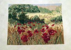 """Ručně vyšívaný obraz """"Kvetoucí makové pole"""" Ručně vyšívaný obraz na kanavě bavlnkami, křížkovým stehem. Rozměry 27x21 cm, bez rámu, na okrajích ponechané kousky nevyšité pro zarámování. Vhodný také pro další zpracování (např. zdobení polštářů)."""