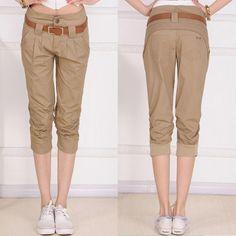 15.65 euro incl shipping Free Shipping! 2013 Summer Fashion Women's Plus Size Clothing Pocket Elastic Rib Cuffs Harem Capris Pants Black Khaki P0714#-inPants & Capri...