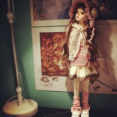 Pid with her clothes I have been making for her while I waited. Awesome to see that they fit her.  #bjd #dim #larina #dollinmind #faceup #doll #costum #artdoll #kawii #cute #dolls #wig #clothing #handmade #Hat #cap #dress #top #skirt #headgear #lolita #mori #crochet #knitting #sew #fabric #yarn #lace #ribbon #felted #fluffy