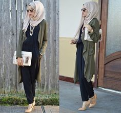 long olive cardigan hijab- Hijabista fashion looks… Muslim Women Fashion, Islamic Fashion, Modest Fashion, Unique Fashion, Fashion Looks, Fashion Outfits, Women's Fashion, Casual Travel Outfit, Hijab Collection