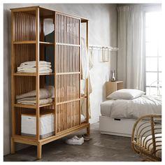 """NORDKISA Open wardrobe with sliding door, bamboo, Width: 47 1/4"""" Height: 73 1/4"""". Find it here! - IKEA Ikea Bedroom, Bedroom Furniture, Furniture Design, Bedroom Decor, Zen Furniture, Bedroom Ideas, Master Bedroom, Bedroom Red, Sliding Wardrobe Doors"""