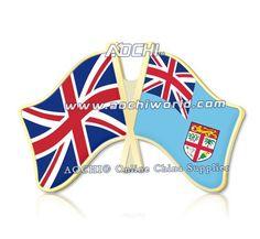Mix высокое Качество и Матч Великобритания и Фиджи Скрещенные Штыри Отворотом Флагов