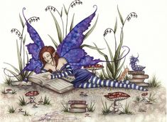 Fairy reading by Amy Brown Beautiful Fantasy Art, Beautiful Fairies, Amy Brown Fairies, Dark Fairies, Fantasy Dragon, Elves Fantasy, Geniale Tattoos, Fairy Pictures, Fairytale Art