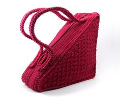 Crochet Triangle Cotton Purse Cherry Red Handbag Fashionable Stylish Unique Burgundy Unusual Bag for Women - CB0018 - Aimarro