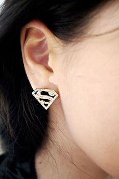 Gold Superman Rhinestone Ear Stud, #Wendybox