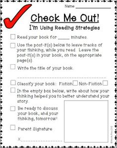 Rios Teaches: Check Me Out! reading homework worksheet that encourages students to practice their reading strategies at home. Reading Lessons, Reading Strategies, Reading Skills, Teaching Reading, Reading Comprehension, Reading Groups, Guided Reading, Reading Buddies, Reading Resources
