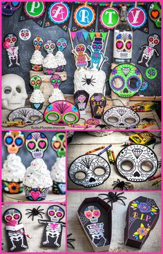Sugar Skull , Day of the Dead , Halloween Printable Party decor kit with skull cupcake toppers, cupcake wrappers, foldable candy coffins, skeleton candy huggers, coloring activity for kids, and more.  Matching invitation also available at KudzuMonster.etsy.com