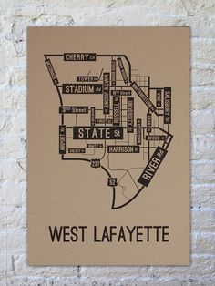 Glory Days - West Lafayette, Indiana Street Map Poster | School Street Posters.