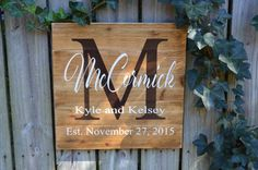 Personalized Wedding Gift, Custom Name Sign, Cedar Last Name Wood Sign, Rustic Family Established Sign, Personalized Name Sign Last Name Wood Sign, Family Name Signs, Last Name Signs, Wood Pallet Signs, Rustic Wood Signs, Wooden Signs, Wooden Boards, Custom Wedding Gifts, Personalized Wedding Gifts
