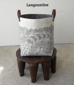 Storage basket fabric bin hand printed with leather handles Langoustine by papatotoro on Etsy https://www.etsy.com/listing/192283311/storage-basket-fabric-bin-hand-printed