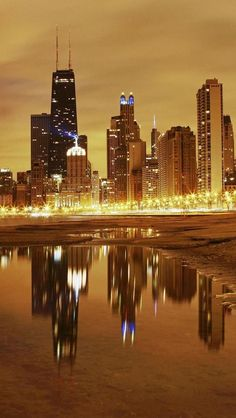 Night, Skyline, Chicago, Illinois, United States.I want to visit here one day.Please check out my website thanks. www.photopix.co.nz