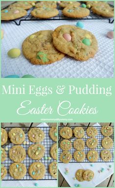 Mini Eggs & Pudding Easter Cookies - Older Mommy Still Yummy Mini Eggs Cookies, Easter Cookies, Easter Treats, Summer Cookies, Drop Cookies, Baby Cookies, Heart Cookies, Easter Candy, Valentine Cookies
