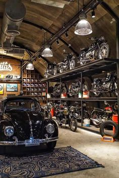Car Moto Garage Idea with Industrial Design Pro Design - Volksw . - Car Moto Garage Idea with industrial design pro – Volkswagen – - Garage House, Garage Shop, Dream Garage, Car Garage, Garage Loft, Garage Plans, Man Cave Basement, Man Cave Garage, Motorcycle Shop