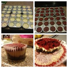Chocolate graham cracker crust, cheesecake and red velvet cupcake!! All made from scratch:D