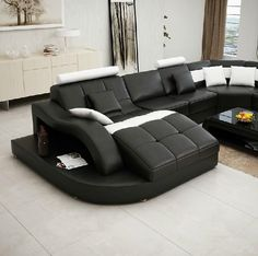 Moderna Black and White Bonded Leather Sectional Sofa, Design, Art Urbane, Art Urbane Black Leather Sofas, Leather Sectional Sofas, Leather Recliner, Bonded Leather, Sofa Sofa, Furniture Decor, Living Room Furniture, Living Room Decor, Family Furniture