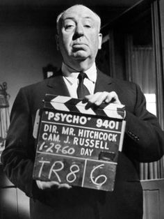 """Alfred Hitchcok by Juliano Tosi for """"Psyco"""", 1960"""