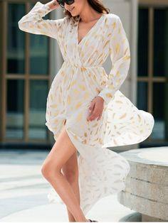 Bohemian V-Neck Long Sleeve Feather Pattern High Slit Women's Dress