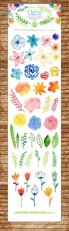 Watercolor floral set by twins_nika on Creative Market Watercolor Lettering, Watercolor Cards, Watercolour Painting, Watercolor Flowers, Painting & Drawing, Hand Lettering, Watercolors, Motif Floral, Arte Floral