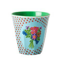 Two tone Melamine cup - Light Blue with red star print and multi posy print with red inner by ultra fun Danish homewares brand RICE 9 x 9 x 9 cm Melamine IMPORTED - Fair Trade Melamine, Decoration Design, Cupping Set, Little Star, Star Print, Twinkle Twinkle, Tea Pots, Planter Pots, Stars