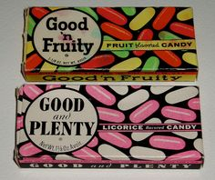 Good and Plenty & Good 'n Fruity candy boxes