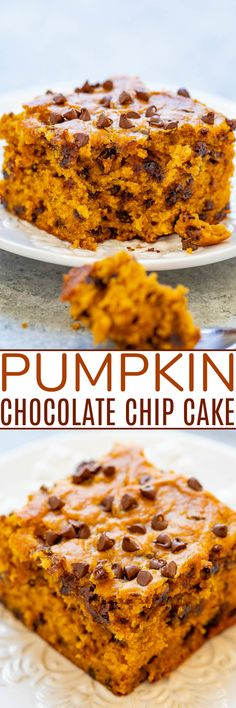 Pumpkin Chocolate Chip Cake - This soft and moist pumpkin cake is loaded with chocolate in every bite! An EASY one-bowl fall dessert that's perfect for impromptu entertaining or anytime a pumpkin craving strikes! Starbucks Pumpkin Bread, Pumpkin Cookie Recipe, Pumpkin Fudge, Moist Pumpkin Bread, Pumpkin Chocolate Chip Muffins, Pumpkin Cake Recipes, Pumpkin Spice Cake, Chocolate Chip Cake, Chocolate Chip Oatmeal
