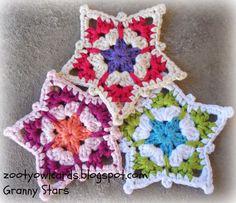 crochet stars - free crochet tutorial by zootyowlcards Grannies Crochet, Crochet Stars, Crochet Snowflakes, Love Crochet, Crochet Flowers, Knit Crochet, Crochet Stitch, Beautiful Crochet, Crochet Star Patterns