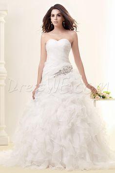 プリティなチャペルタリーンのAラインウェディングドレス スウィートハート ノースリーブ フリル 床長 9685464 - ウェディングドレス2014 - Dresswe.Com